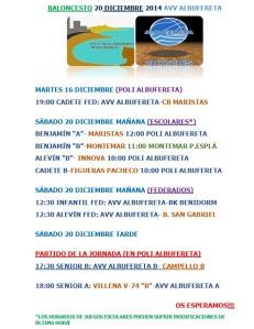 HORARIOS PARTIDOS 20 DICIEMBRE 2014