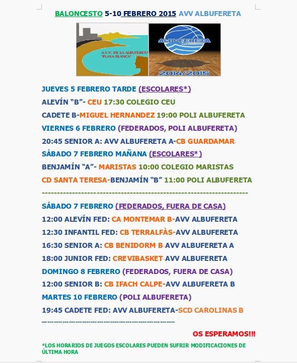 HORARIOS 5-10 FEBRERO