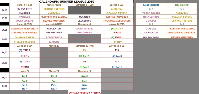 SUMMER LEAGUE 2015 CALENDARIO